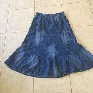 Jean Patch Blue Stitched Design Long Bell Shape